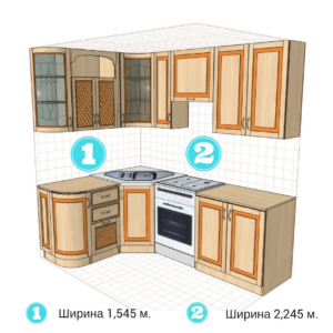 Кухня Юля VIP (комплект кут вітраж 1545х2245 м.)
