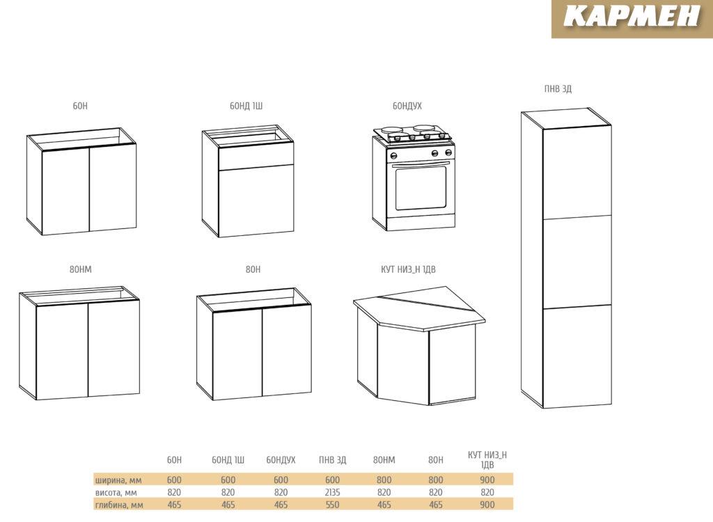 Модульні елементи кухні Кармен