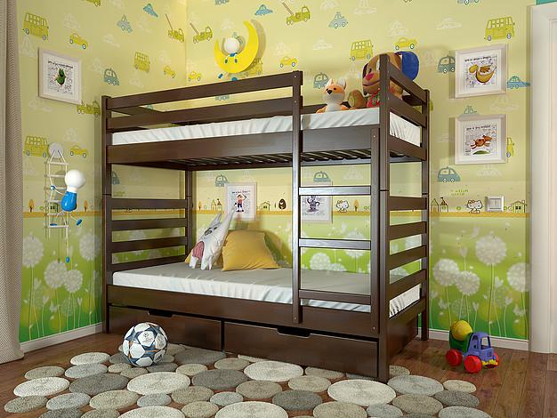 Ліжко РІО горіх темний (з шухлядою)