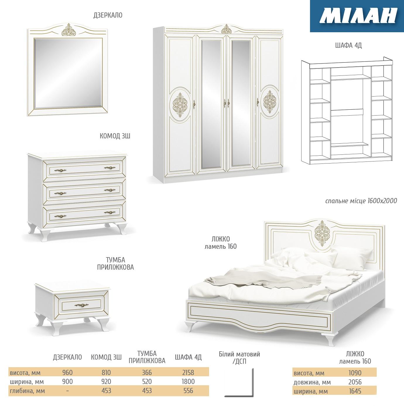 Спальня МІЛАН